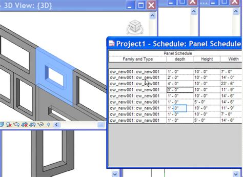 revit curtain wall tutorial nested curtain wall schedule instance property