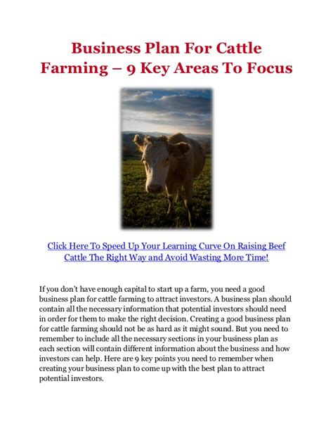 business plan for cattle farming 9 key areas to focus