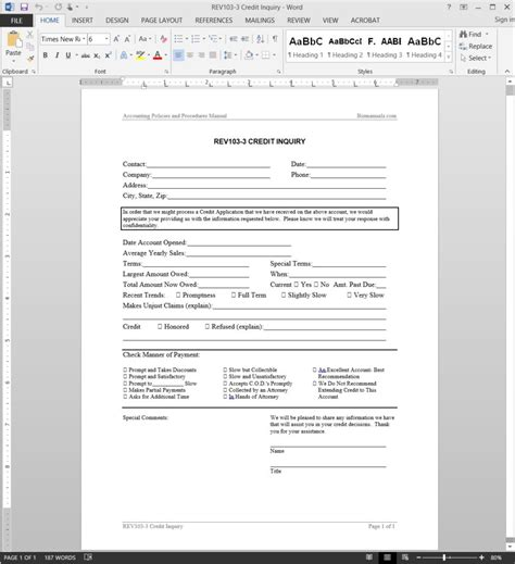 Credit Inquiry Form Bank Credit Inquiry Request Template