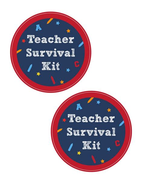 teacher survival kit with free printable cameo file