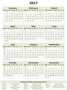 Calendar 2018 Printable Ireland Ireland Calendar 2017 Calendar 2017