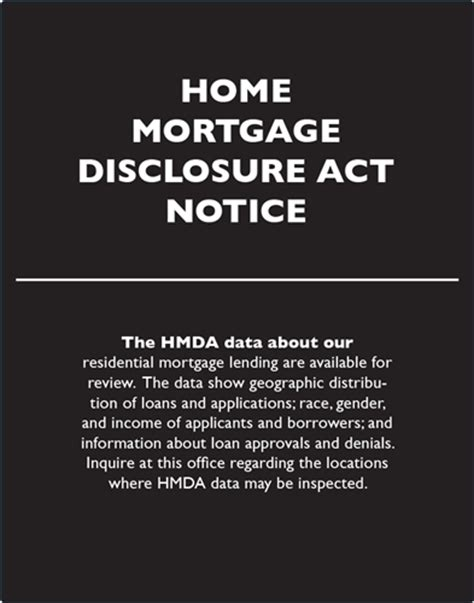home mortgage disclosure act notice 11x14 inches