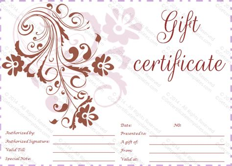 flower gift card template classic flowers gift certificate template