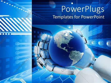 Powerpoint Template Electronic Background World On Robot Free Robotics Ppt Templates
