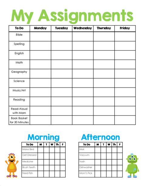 printable homework schedule homeschool assignment chores sheet free printable