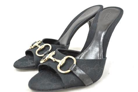 Slip On Gucci Wedges Importshoes gucci 138703 f40k0 1000 black canvas gg slip on sandal heel silver horsebit ebay
