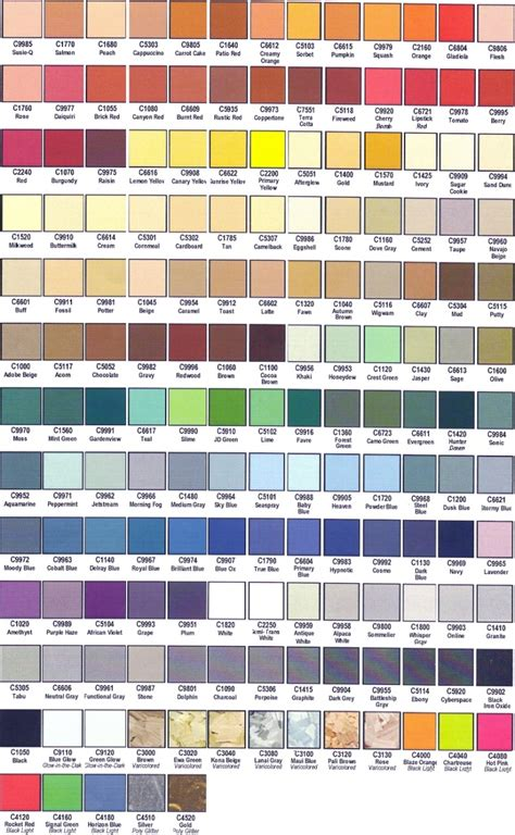 paint colors duplicolor vinyl paint color chart images