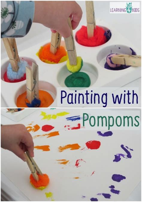 painting for 4 year olds letter p activity painting with pompoms learning 4