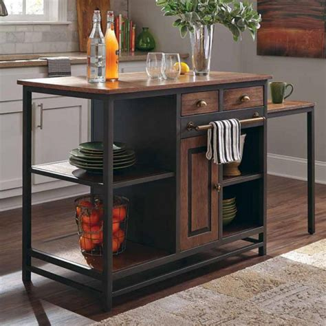 kitchen island metal industrial kitchen island server kitchenware rustic wood black metal pull desk ebay