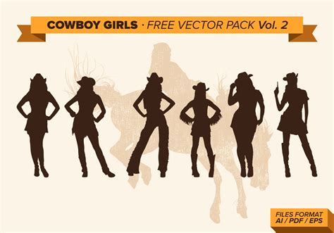 cowgirl silhouette vector free download two beautiful cowboy girls silhouette free vector pack vol 2 download