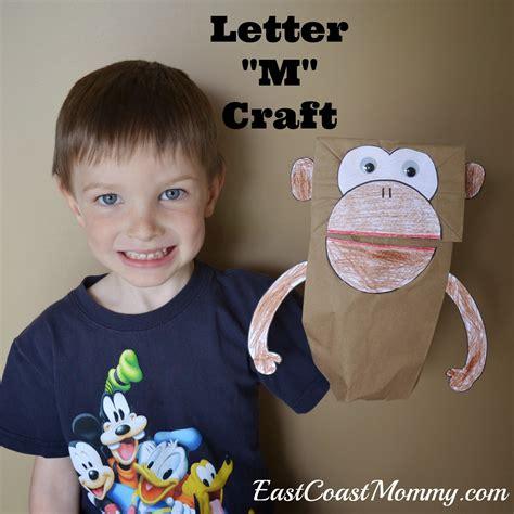 paper bag monkey craft east coast alphabet crafts letter m