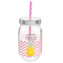 bocal avec paille en verre h 14 cm pineapple maisons du