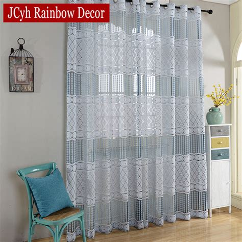 Kitchen Door Curtains Luxury Sheer Tulle Curtains For Living Room Bedroom Blue