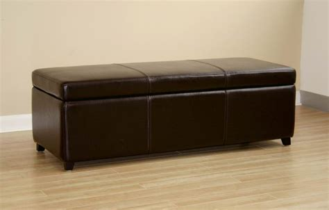 long leather ottoman bench 47 quot long dark brown leather storage ottoman bench chest