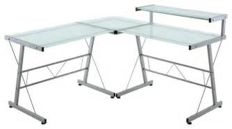 L Shaped Desk Glass Top L Shaped Workstation With Frosted Glass Top Modern Desks And Hutches By Lexmod