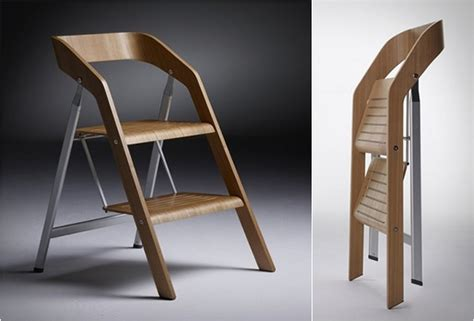 elegant furniture piece with two functions the stepladder chair video freshome com