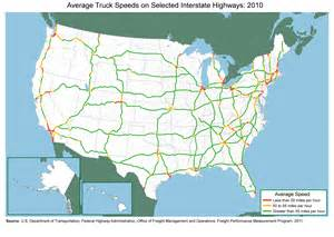 us road map with interstates on it average truck speeds on selected interstate highways 2010