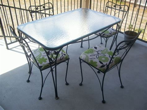 Metal Patio Table And Chairs Salterini 5 Wrought Iron Patio Table And Chairs Collectors Weekly