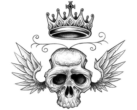 skull with crown tattoo designs winged crown skull design