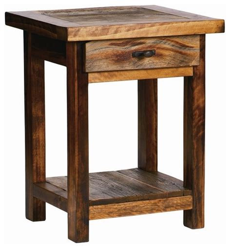 Rustic Wood Nightstand by Rustic Wood Nightstand W Drawer Contoured Aspen Rustic