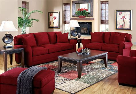 Living Room With Burgundy Sofa » Simple Home Design