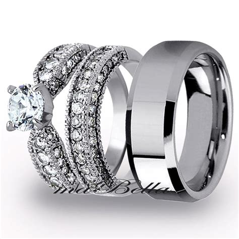 Best 3 Pcs Mens Tungsten Womens Stainless Steel Engagement