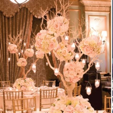 twig tree centerpiece blush and gold centerpiece for church decor in alter and