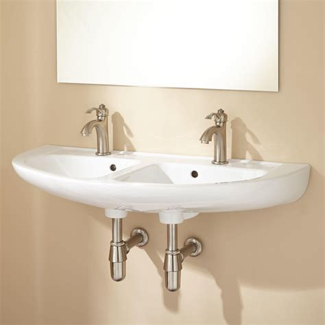 bathroom lavatory cassin double bowl porcelain wall mount bathroom sink