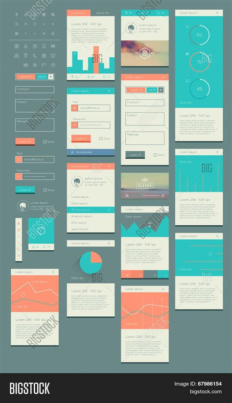 flat ui kit web mobile ui design vector photo bigstock
