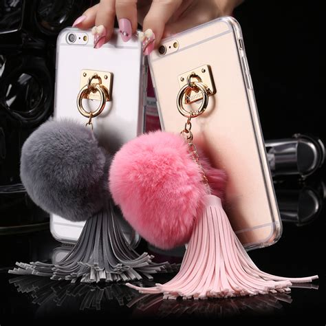 For Iphone 6 6s Soft Fashion Glasses Tassel Korean Cover tassel rabbit hair for iphone 6 6s fashion soft tpu pc transparent ring stand