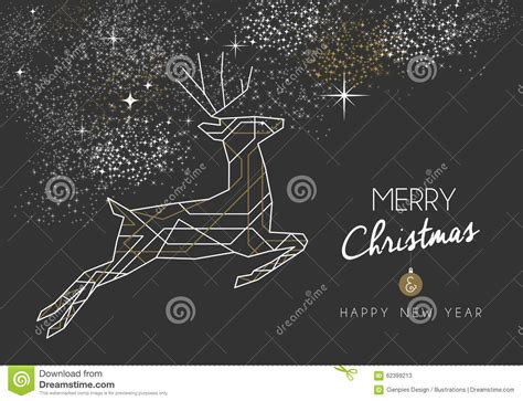 merry christmas  year deer art deco outline stock vector illustration  outline deer