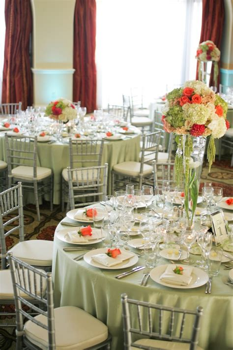 simply lovely table coarl pink and green table orange green white wedding reception flowers by