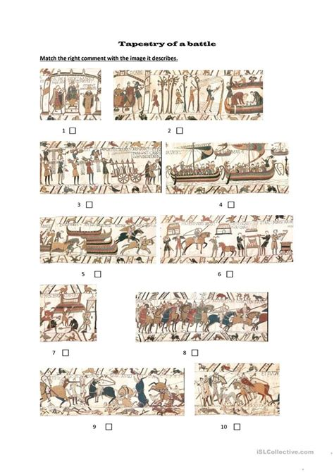 bayeux tapestry matching exercise worksheet  esl
