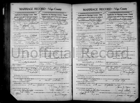 Vigo County Marriage License Records Hainings And Related Families