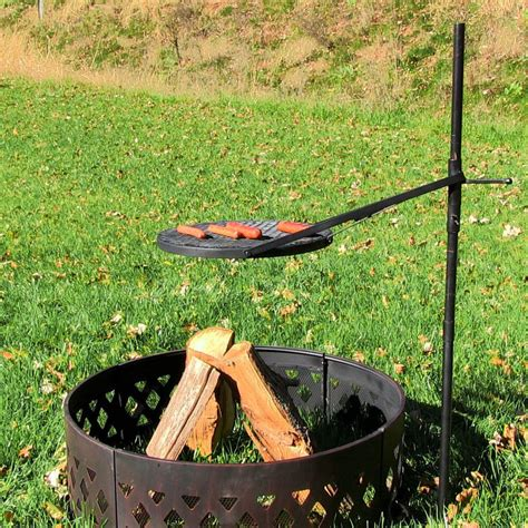 Firepit And Grill Height Adjustable Rotating Outdoor Cfire Pit Cooking Grill Grate Ebay