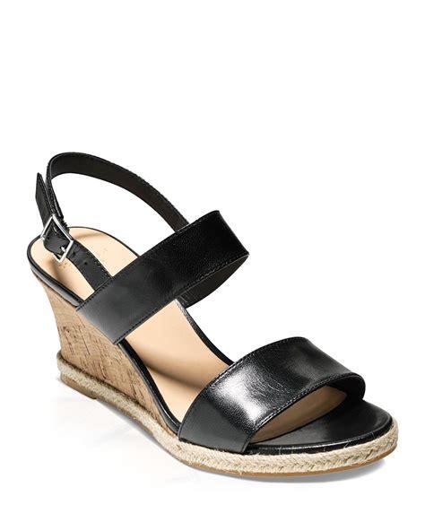 cole haan open toe platform wedge sandals in black