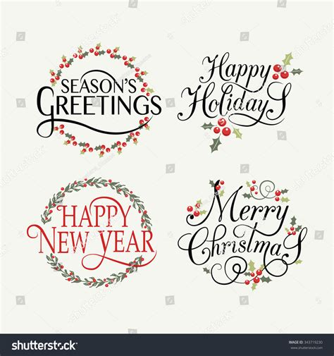 merry and happy new year card template sketched happy holidays badge icon stock vector