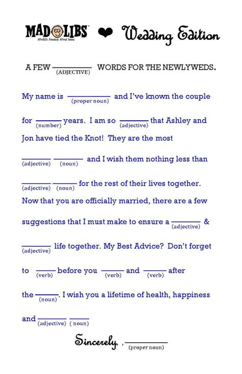 wedding mad libs wedding advice our wedding