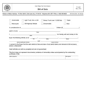 utah motor vehicle bill  sale form templates fillable