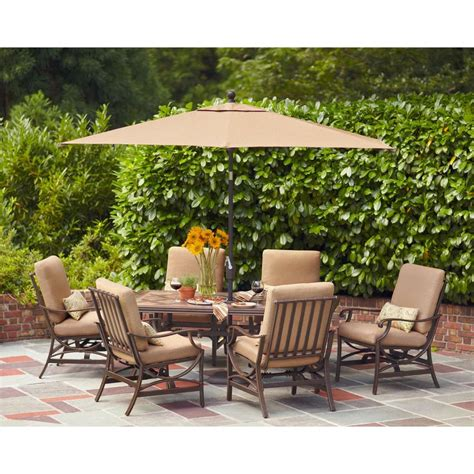 patio dining set 7 hton bay fall river 7 patio dining set with chili cushion d11034 7pc r the home depot