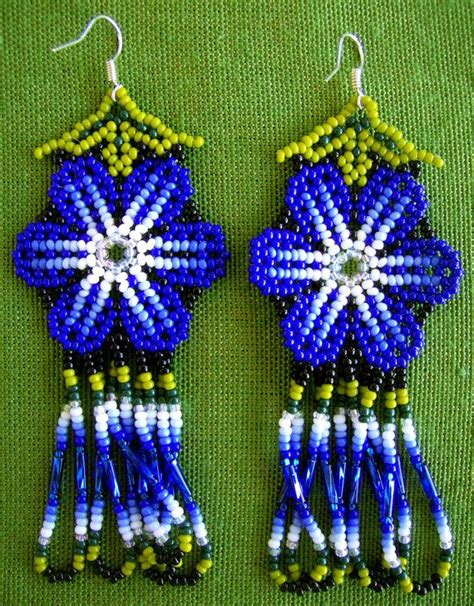 mexican beading mexican huichol beaded flower earrings