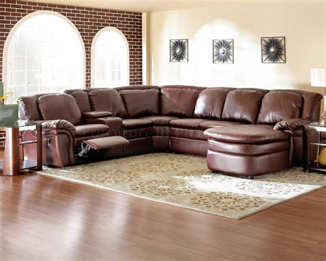 leather sectional recliner burgundy bonded leather reclining sectional w console unit
