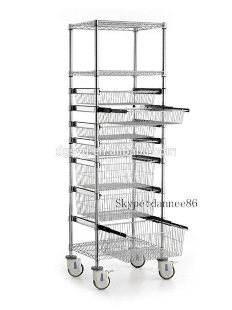 wire sliding shelves wire shelving trolley with sliding wire basket buy