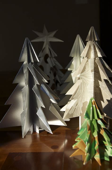 how to make folded paper kirigami christmas trees