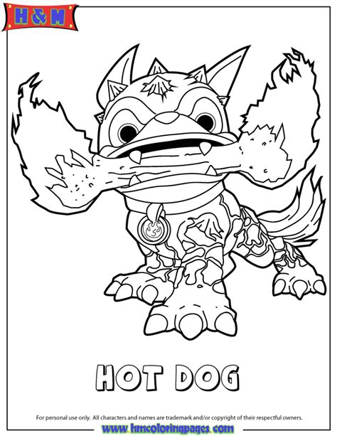Free Coloring Pages Of Skylanders Hot Dog Hot Dog Coloring Sparky The Coloring Pages