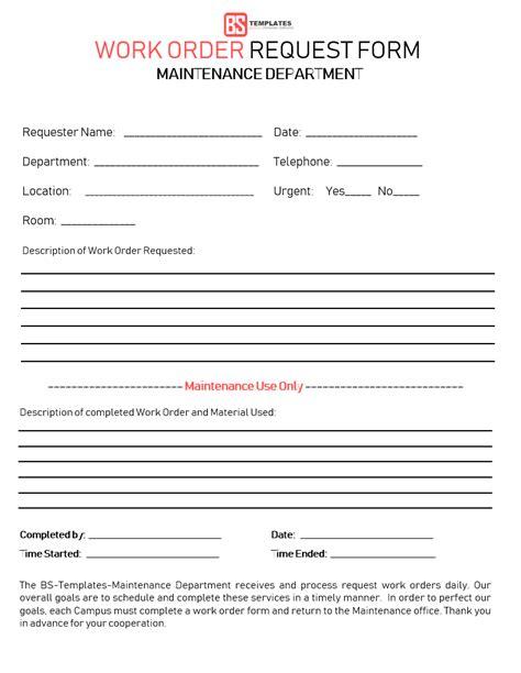 sample maintenance work order form job request present portrayal