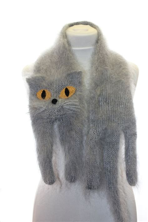 knitting pattern cat scarf knitted scarf british blue cat fuzzy soft scarf grey