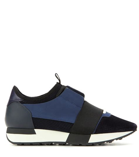 balenciaga blue sneakers lyst balenciaga race runner fabric leather and suede