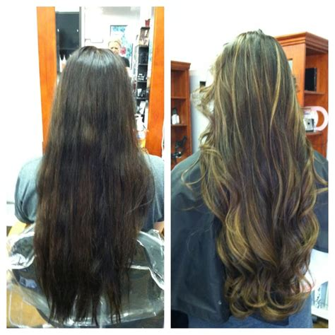 balayage highlights mid length hair before and after my hip length hair with some balayage highlights and