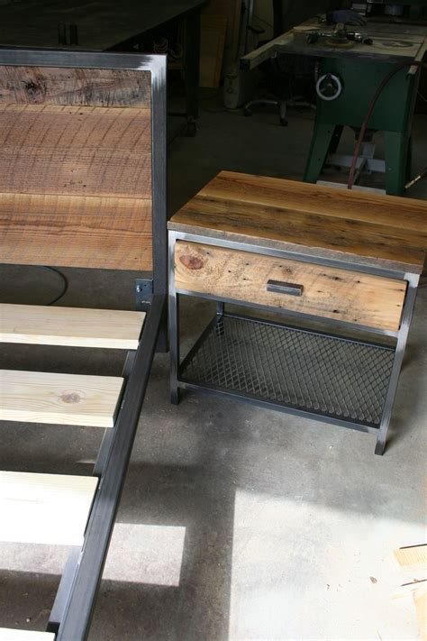 wood and metal bed this side table is the lexi a steel frame topped with reclaimed barn wood and